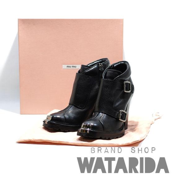 川崎の質屋【渡田質店】MIUMIU ブーツ ショートブーツ ヒールブーツ 37 1/2 23.5cm レザー メタル ブラック 【送料無料】のご紹介です。