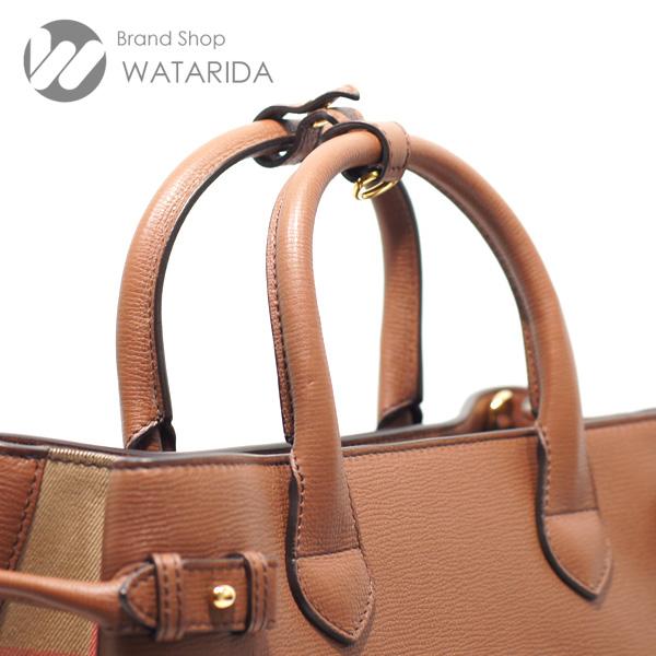川崎の質屋 渡田質店 バーバリー バッグ 2WAY レザーハンドバッグ タン ブラウン 箱・袋付 送料無料 のご紹介です。