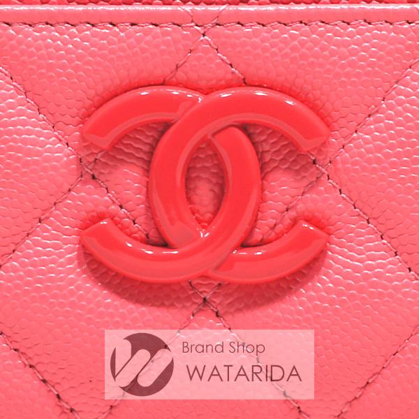 川崎の質屋 渡田質店 シャネル カードケース マイエブリシング ココマーク キャビアスキン マトラッセ ピンク コーラル 箱・カード付 送料無料 のご紹介です。