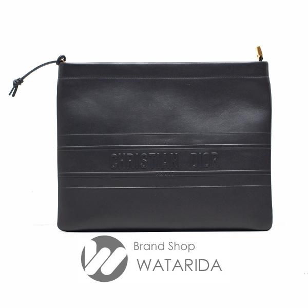 川崎の質屋 渡田質店 ディオール バッグ ストライプ ロゴ クラッチ S5543CDSB ブラック レザー 保存袋・タグ付 未使用品 送料無料 のご紹介です。