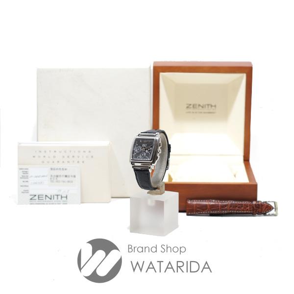 川崎の質屋 渡田質店 ゼニス ZENITH 腕時計 クラス 4 エルプリメロ 01.0420.400 SS 社外ベルト 黒文字盤 純正革ベルト・保付 送料無料 のご紹介です。
