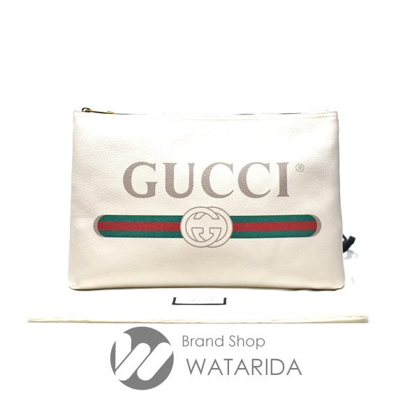 川崎の質屋 渡田質店 グッチ GUCCI クラッチバッグ ポートフォリオ ロゴプリント 500984 オフホワイト 保存袋・注意書付 送料無料 のご紹介です。