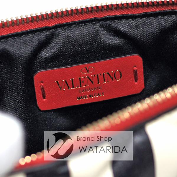 川崎の質屋 渡田質店 ヴァレンティノ ガラヴァーニ クラッチバッグ ストライプ ロックスタッズ クラッチ レザー オフホワイト ブラック のご紹介です。