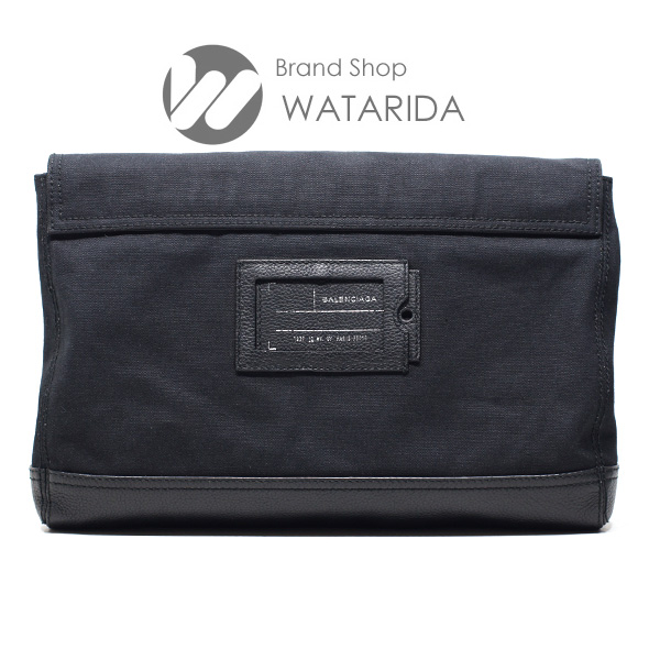 川崎の質屋 渡田質店 バレンシアガ BALENCIAGA キャンバス レザー クラッチバッグ 437367 ブラック 保存袋付 のご紹介です。